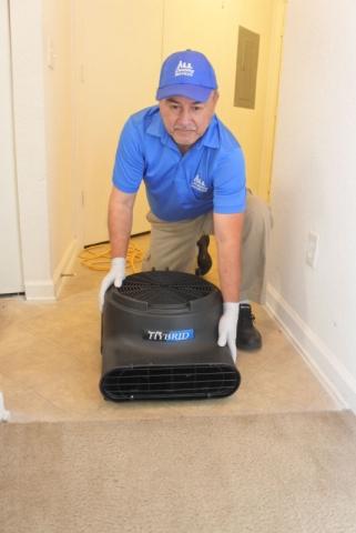 Blow drying wet carpet in Jacksonville Fl